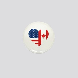 Canadian American Flag Love Mini Button