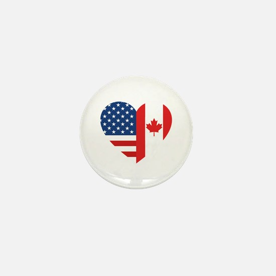 Canadian American Flag Love Mini Button
