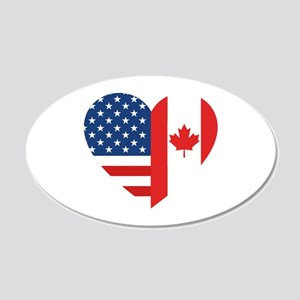 Canadian American Flag Love 20x12 Oval Wall Decal