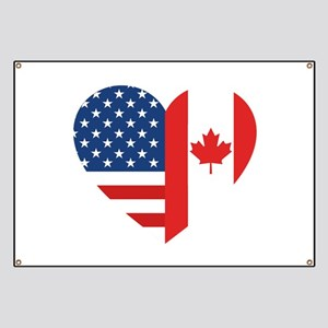 Canadian American Flag Love Banner