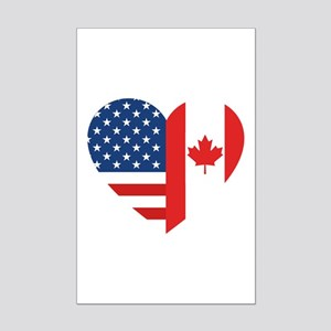 Canadian American Flag Love Mini Poster Print