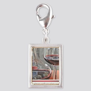 10 RED WINE QUOTE Silver Portrait Charm