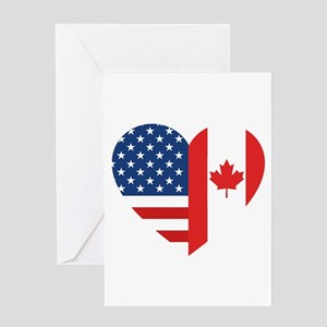 Canadian American Flag Love Greeting Card