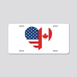 Canadian American Flag Love Aluminum License Plate