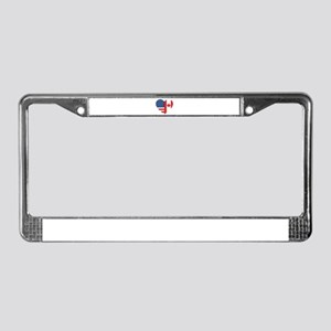 Canadian American Flag Love License Plate Frame
