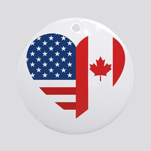Canadian American Flag Love Round Ornament
