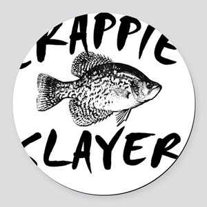 CRAPPIE SLAYER 4 WHITE Round Car Magnet
