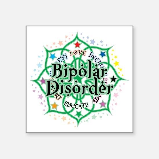 """Bipolar-Disorder-Lotus Square Sticker 3"""" x 3"""""""