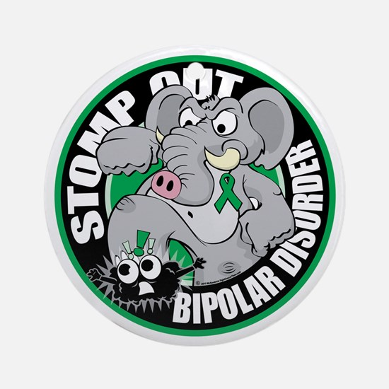 Stomp-Out-Bipolar-Disorder-Circle Round Ornament