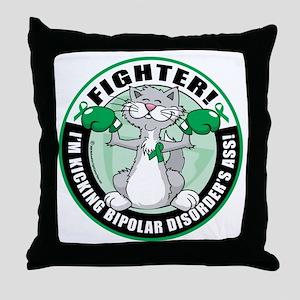 Bipolar-Disorder-Cat-Fighter Throw Pillow