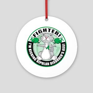 Bipolar-Disorder-Cat-Fighter Round Ornament