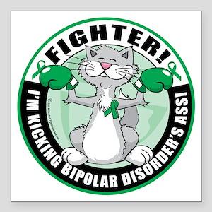 "Bipolar-Disorder-Cat-Fig Square Car Magnet 3"" x 3"""