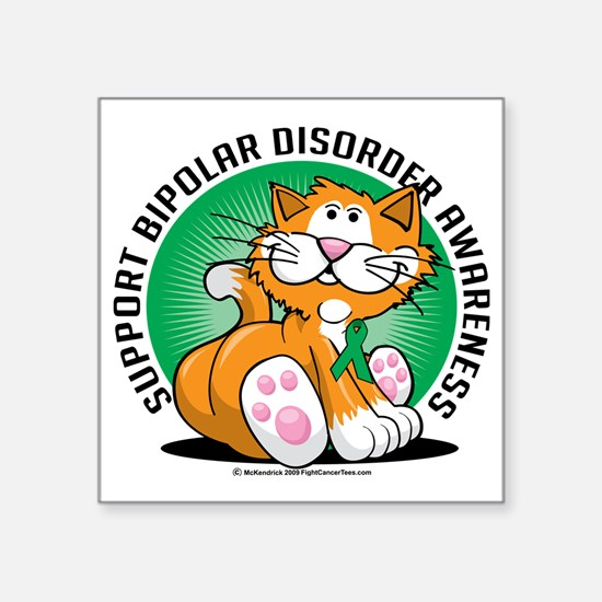 "Bipolar-Disorder-Cat Square Sticker 3"" x 3"""