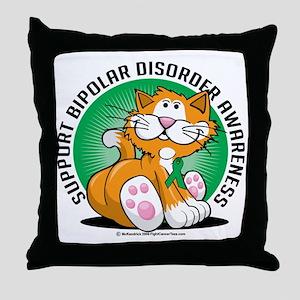 Bipolar-Disorder-Cat Throw Pillow