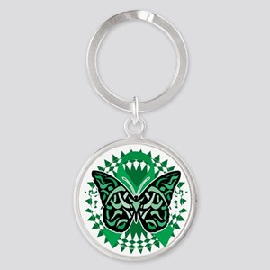 Bipolar-Disorder-Butterfly-Tribal-2 Round Keychain