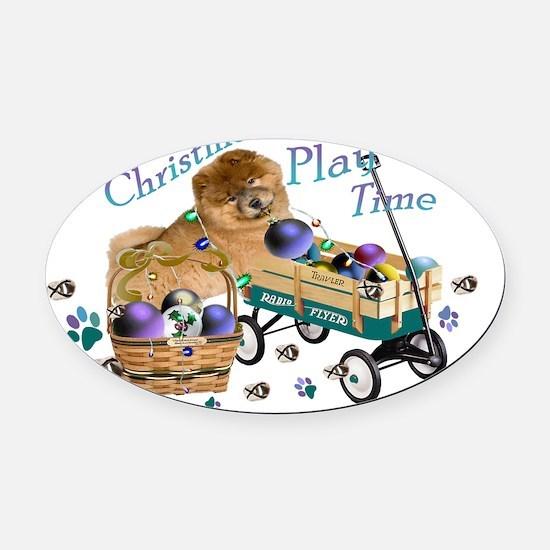 Chow Chow Christmas Play Oval Car Magnet
