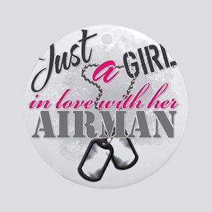 Just a girl Airman Round Ornament