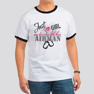 Just a girl Airman Ringer T