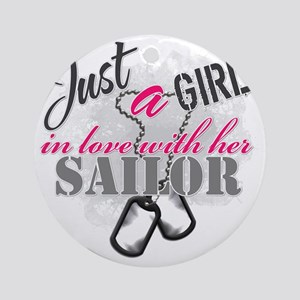 Just a girl Sailor Round Ornament