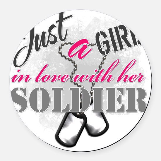 Just a girl Soldier Round Car Magnet