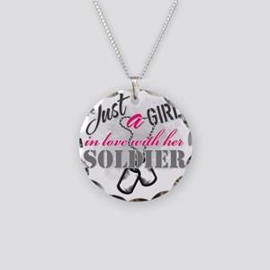 Just a girl Soldier Necklace Circle Charm