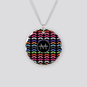 Girly Colorful Mustache Pattern Monogram Necklace