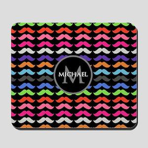 Girly Colorful Mustache Pattern Monogram Mousepad