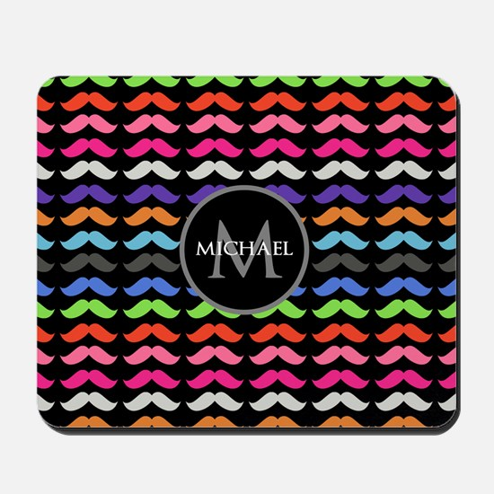 Girly Colorful Mustache Pattern Monogram Mousepad