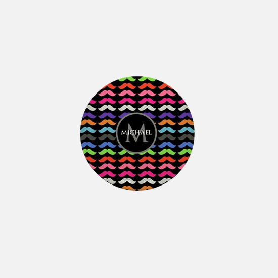 Girly Colorful Mustache Pattern Monogram Mini Butt