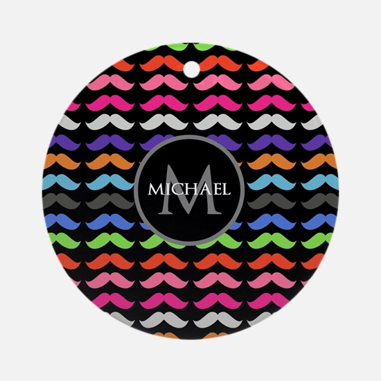 Girly Colorful Mustache Pattern Monogram Ornament