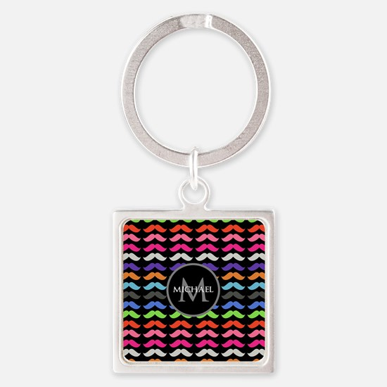 Girly Colorful Mustache Pattern Monogram Square Ke