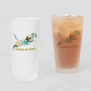 Chesapeake Bay Retriever Floral Drinking Glass