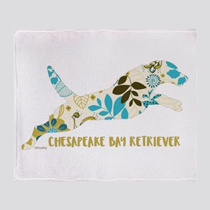Chesapeake Bay Retriever Floral Throw Blanket