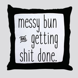 Messy Bun Throw Pillow