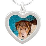 Wire Fox Terrier Puppy Silver Heart Necklace