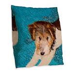 Wire Fox Terrier Puppy Burlap Throw Pillow