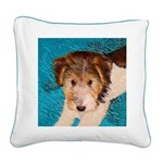 Wire Fox Terrier Puppy Square Canvas Pillow