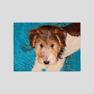Wire Fox Terrier Puppy 5'x7'Area Rug