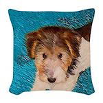 Wire Fox Terrier Puppy Woven Throw Pillow