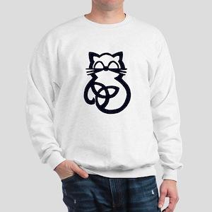 Black Trinity Knot Celtic Cat Sweatshirt