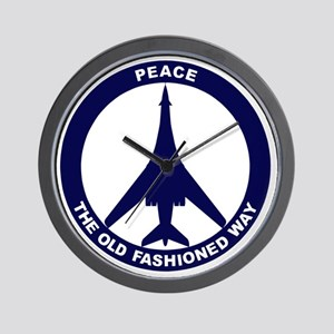 Peace The Old Fashioned Way - B-1B Blue Wall Clock