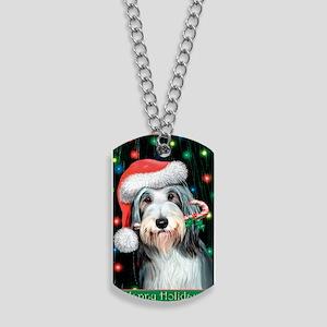 Bearded Collie-Happy Holidays Dog Tags