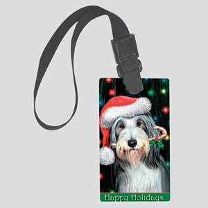 Bearded Collie-Happy Holidays Large Luggage Tag