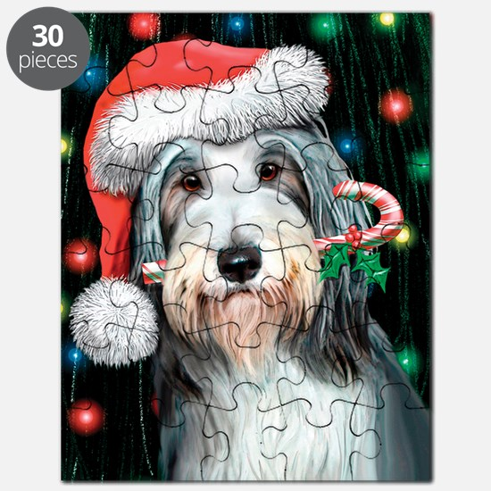 Bearded Collie-Happy Holidays Puzzle