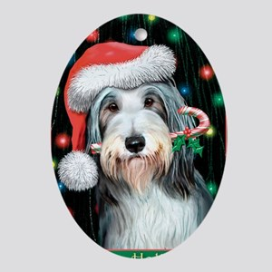 Bearded Collie-Happy Holidays Oval Ornament