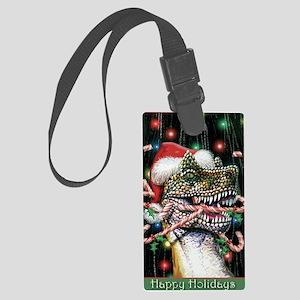 Happy Holidays Dinosaur Large Luggage Tag