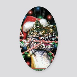 Happy Holidays Dinosaur Oval Car Magnet