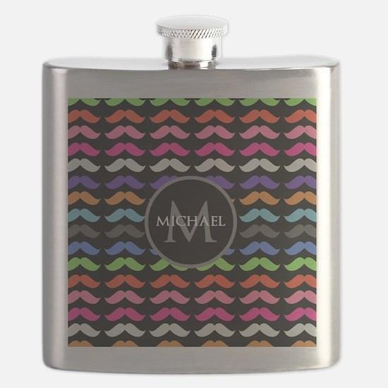 Girly Colorful Mustache Pattern Monogram Flask