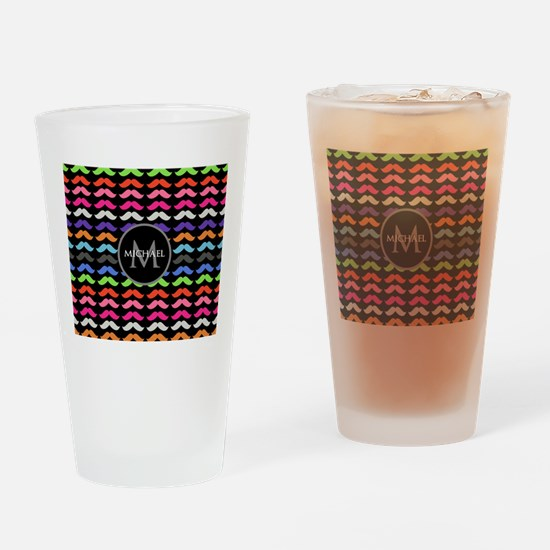 Girly Colorful Mustache Pattern Monogram Drinking