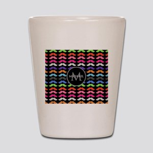 Girly Colorful Mustache Pattern Monogram Shot Glas